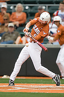 Texas 3B Erich Weiss (6) connects against Stanford on March 4th, 2011 at UFCU Disch-Falk Field in Austin, Texas.  (Photo by Andrew Woolley / Four Seam Images)