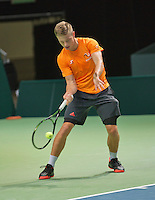 Swiss, Genève, September 14, 2015, Tennis,   Davis Cup, Swiss-Netherlands, practise Dutch team, Tim van Rijthoven<br /> Photo: Tennisimages/Henk Koster