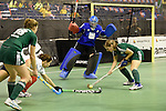 Berlin, Germany, February 01: Melanie Terber #22 of HTC Uhlenhorst Muehlheim controls the ball during the 1. Bundesliga Damen Hallensaison 2014/15 final hockey match between Duesseldorfer HC (white) and HTC Uhlenhorst Muehlheim (green) on February 1, 2015 at the Final Four tournament at Max-Schmeling-Halle in Berlin, Germany. Final score 4-1 (1-0). (Photo by Dirk Markgraf / www.265-images.com) *** Local caption ***