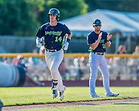 16 July 2017: Vermont Lake Monsters first baseman  Aaron Arruda, a 12th round draft pick for the Oakland Athletics, rounds the bases after hitting his first professional career home run, a solo shot to left, in the 5th inning against the Auburn Doubledays at Centennial Field in Burlington, Vermont. The Monsters defeated the Doubledays 6-3 in NY Penn League action. Mandatory Credit: Ed Wolfstein Photo *** RAW (NEF) Image File Available ***