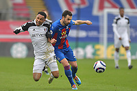 Kenny Tete of Fulham clashes with Luka Milivojević of Crystal Palace during the Premier League behind closed doors match between Crystal Palace and Fulham at Selhurst Park, London, England on 28 February 2021. Photo by Vince Mignott / PRiME Media Images.