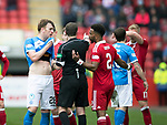 Aberdeen v St Johnstone…29.04.17     SPFL    Pittodrie<br />Liam Craig suffers a bloody nose after his set to with Jayden Stockly<br />Picture by Graeme Hart.<br />Copyright Perthshire Picture Agency<br />Tel: 01738 623350  Mobile: 07990 594431
