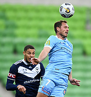 6th June 2021; AAMI Park, Melbourne, Victoria, Australia; A League Football, Melbourne Victory versus Melbourne City; Rostyn Griffiths of Melbourne City heads the ball clear