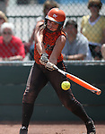 Douglas Tigers' Corry Diaz hits against the Galena Grizzlies in a first round game of the NIAA northern region softball tournament in Reno, Nev., on Thursday, May 15, 2014. Galena won 5-4.<br /> Photo by Cathleen Allison