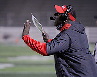 Fort Smith Northside Grizzlies Defensive Coordinator Felix Curry shouts instructions during the first round play-off game against the Har-Ber Wildcats Friday, November 13, 2020, at Wildcat Stadium, Springdale, Arkansas (Special to NWA Democrat-Gazette/Brent Soule)