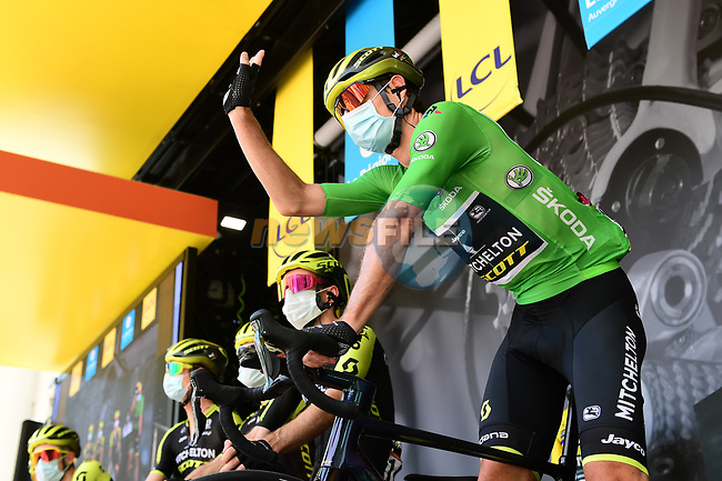 Daryl Impey (RSA) wearing the Green Jersey and Mitchelton-Scott team at sign on before the start of Stage 2 of Criterium du Dauphine 2020, running 135km from Vienne to Col de Porte, France. 13th August 2020.<br /> Picture: ASO/Alex Broadway | Cyclefile<br /> All photos usage must carry mandatory copyright credit (© Cyclefile | ASO/Alex Broadway)