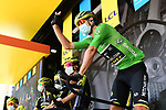 Daryl Impey (RSA) wearing the Green Jersey and Mitchelton-Scott team at sign on before the start of Stage 2 of Criterium du Dauphine 2020, running 135km from Vienne to Col de Porte, France. 13th August 2020.<br /> Picture: ASO/Alex Broadway   Cyclefile<br /> All photos usage must carry mandatory copyright credit (© Cyclefile   ASO/Alex Broadway)