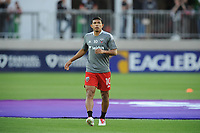 WASHINGTON, DC - MAY 13: Edison Flores #10 of D.C. United warming up before a game between Chicago Fire FC and D.C. United at Audi FIeld on May 13, 2021 in Washington, DC.