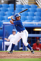 GCL Blue Jays first baseman Yorman Rodriguez (77) at bat during the first game of a doubleheader against the GCL Phillies on August 15, 2016 at Florida Auto Exchange Stadium in Dunedin, Florida.  GCL Phillies defeated the GCL Blue Jays 7-5 in a continuation of a game originally started on July 30th.  (Mike Janes/Four Seam Images)