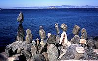 Balanced rocks on the San Francisco Bay shore near Fort Point. San Francisco, California.
