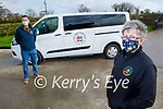 Breda Dyland (Kerry Cancer Support Group) stands with Paudie Collins of Collins Buses as the Kerry Cancer Support Groups buses are working through the lockdown providing vital transport for cancer patients.