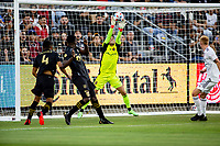 LOS ANGELES, CA - JULY 17: Goal Keeper David Ochoa #1 of Real Salt Lake makes a save during a game between Real Salt Lake and Los Angeles FC at Banc of California Stadium on July 17, 2021 in Los Angeles, California.