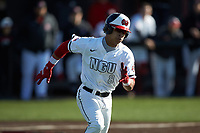 Jeremy Whitehead (8) of the North Greenville Crusaders hustles down the first base line against the Bellarmine Knights at Ashmore Park on February 7, 2020 in Tigerville, South Carolina. The Crusaders defeated the Knights 10-2. (Brian Westerholt/Four Seam Images)