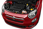 Car Stock 2016 Fiat 500X-City-Look Pop-Star 5 Door Suv Engine  high angle detail view
