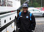 St Johnstone v Eskisehirspor....18.07.12  Uefa Cup Qualifyer.Nigel Hasselbaink all smiles as he arrives at a very wet McDiarmid Park en-route to Edinburgh Airport.Picture by Graeme Hart..Copyright Perthshire Picture Agency.Tel: 01738 623350  Mobile: 07990 594431