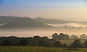 20/09/15<br /> <br /> Making a stunning, picture-postcard, autumn scene, early morning mists cling to farmland  surrounding Dovedale and Thorpe Cloud in The Derbyshire Dales near in the Peak District.<br /> <br /> All Rights Reserved: F Stop Press Ltd. +44(0)1335 418365   www.fstoppress.com.