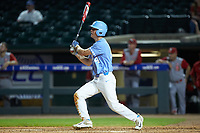 Tyler Lynn (14) of the North Carolina Tar Heels follows through on his swing against the North Carolina State Wolfpack in Game Twelve of the 2017 ACC Baseball Championship at Louisville Slugger Field on May 26, 2017 in Louisville, Kentucky. The Tar Heels defeated the Wolfpack 12-4. (Brian Westerholt/Four Seam Images)