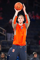 NEW YORK, NY - Sunday December 13, 2015: Tyler Lydon (#20) of Syracuse warms up before the game.  St. John's defeats Syracuse 84-72 during the NCAA men's basketball regular season at Madison Square Garden in New York City.