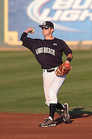 Garrett Hampson #1 of the Long Beach State Dirtbags during a game against the Indiana Hoosiers at Blair Field on March 14, 2014 in Long Beach, California. Long Beach State defeated Indiana 4-3. (Larry Goren/Four Seam Images)