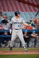 Hudson Valley Renegades first baseman Jacson McGowan (37) at bat during a game against the Connecticut Tigers on August 20, 2018 at Dodd Stadium in Norwich, Connecticut.  Hudson Valley defeated Connecticut 3-1.  (Mike Janes/Four Seam Images)