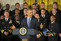 President Barack Obama speaks during an award ceremony in which he presented the U.S. Naval Academy football team with the Commander in Chief's Trophy at the White House in Washington, D.C. April 27, 2016. The president presents the trophy to Department of Defense academy team with the most victories against its service rivals. (DoD News photo by EJ Hersom)