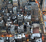 Early morning view of buildings from above in New York City.