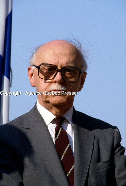 July 1986 File Photo - Jean Drapeau, Mayor, Montreal atttend the 10th anniversary of Montreal's Olympics.<br /> <br />  Drapeau was a Canadian lawyer and politician who served as mayor of Montreal from 1954 to 1957 and 1960 to 1986. During his tenure as mayor he was responsible for the construction of the Montreal Metro system and the Place des Arts concert hall, for conceiving Expo 67, for securing the 1976 Summer Olympics, and for helping to bring Major League Baseball to Montreal with the creation of the Montreal Expos.<br /> <br /> Although he is remembered as a visionary, Drapeau's mishandling of the construction of the Olympic Games facilities resulted in massive cost overruns and left the city with a debt of over $1 billion that has taken its citizens over thirty years to fully pay off.