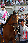 June 8, 2013. Belmont contender Vyjack, Julien Leparoux up, enters the track for the post parade. Palace Malice, Mike Smith up, wins the Belmont Stakes at Belmont Park, Elmont, New York. Trainer is Todd Pletcher (Joan Fairman Kanes/Eclipse Sportswire)