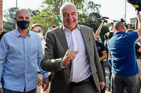 The candidate mayor of Rome for the right-center coalition Enrico Michetti (l) arrives for an electoral campaign press conference for the mayoral election in Spinaceto, a peripheral neighborhood in the west of Rome on October 1st 2021. Photo Andrea Staccioli Insidefoto