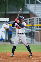 Kevin Maitan (26) of the Danville Braves at bat against the Burlington Royals at Burlington Athletic Stadium on August 15, 2017 in Burlington, North Carolina.  The Royals defeated the Braves 6-2.  (Brian Westerholt/Four Seam Images)
