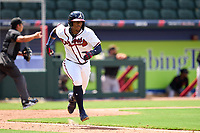 FCL Braves outfielder Brandol Mezquita (23) runs to first base during a game against the FCL Orioles Orange on July 22, 2021 at the CoolToday Park in North Port, Florida.  (Mike Janes/Four Seam Images)
