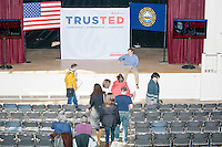 People enter before Texas senator and Republican presidential candidate Ted Cruz speaks during a town hall event at Peterborough Town House in Peterborough, New Hampshire, on Sun., Feb. 7, 2016.