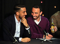 Pictured L-R: Neil Taylor and Leon Britton Thursday 08 April 2016<br />Re: Zimkids dinner at the Liberty Stadium, Swansea, UK