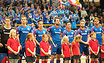 GER - Luebeck, Germany, February 06: Teams line up prior the 1. Bundesliga Herren indoor hockey semi final match at the Final 4 between Uhlenhorst Muelheim (white) and Mannheimer HC (blue) on February 6, 2016 at Hansehalle Luebeck in Luebeck, Germany.  Final score 7-5 (HT 2-3). (Photo by Dirk Markgraf / www.265-images.com) *** Local caption *** (L-R) Lukas Stumpf #4 of Mannheimer HC, Tomas Prochazka #5 of Mannheimer HC, Tino Nguyen Luong #7 of Mannheimer HC, Philipp Collot #13 of Mannheimer HC, Patrick Harris #17 of Mannheimer HC, Maximilian Neumann #24 of Mannheimer HC, Florian Woesch #25 of Mannheimer HC