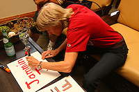 8 April 2008: Stanford Cardinal fans make signs during Stanford's send off party before their 64-48 loss against the Tennessee Lady Volunteers in the 2008 NCAA Division I Women's Basketball Final Four championship game at the St. Pete Times Forum Arena in Tampa Bay, FL.