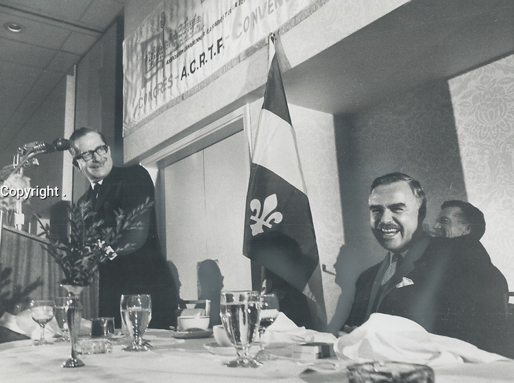 Johnson, Robarts laugh it up as partnership solidified. 'Quebec does not intend to become a ghetto,' Union Nationale leader stressed<br /> <br /> 1966<br /> <br /> PHOTO :  Dick Darrell - Toronto Star Archives - AQP