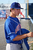 Auburn Doubledays Starting Pitcher Asher Wojciechowski (36), Blue Jays first round pick, signs autographs before a game vs. the Batavia Muckdogs at Dwyer Stadium in Batavia, New York July 2, 2010.   Batavia defeated Auburn 6-3.  Photo By Mike Janes/Four Seam Images