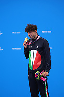 26th August 2021; Tokyo, Japan;  Gold medalist RAIMONDI Stefano (ITA) celebrates on the podium for the Swimming : Men's 100m Breaststroke - SB9 Final - Medal Ceremony on August 26, 2021 during the Tokyo 2020 Paralympic Games at the Tokyo Aquatics Centre in Tokyo, Japan.