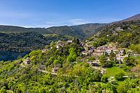 France, Ardeche, Cevennes National Park, Monts d'Ardeche Regional Natural Park, Les Vans, Naves village (aerial view) // France, Ardèche (07), Parc national des Cévennes, Parc naturel régional des Monts d'Ardèche, Les Vans, village de Naves (vue aérienne)