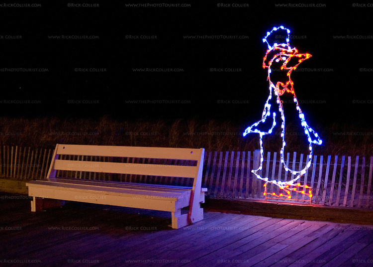 The town of Rehoboth Beach, Delaware, USA, decorates for Christmas every year with lights along the main street and the boardwalk.