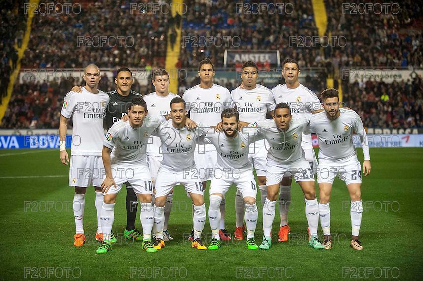VALENCIA, SPAIN - MARCH 2: Real Madrid team during BBVA League match between VLevante U.D. and R. Madrid at Ciudad de Valencia Stadium on March 2, 2015 in Valencia, Spain