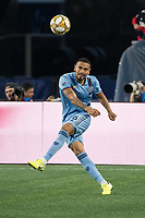 FOXBOROUGH, MA - SEPTEMBER 29: Alexander Callens #6 of New York City FC passes the ball during a game between New York City FC and New England Revolution at Gillettes Stadium on September 29, 2019 in Foxborough, Massachusetts.