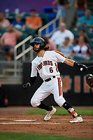 Aberdeen IronBirds Andrew Fregia (6) bats during a NY-Penn League game against the Vermont Lake Monsters on August 19, 2019 at Leidos Field at Ripken Stadium in Aberdeen, Maryland.  Aberdeen defeated Vermont 6-2.  (Mike Janes/Four Seam Images)