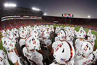 LOS ANGELES, CA - SEPTEMBER 11: Stephen Herron #15 of the Stanford Cardinal rallies the team before a game between University of Southern California and Stanford Football at Los Angeles Memorial Coliseum on September 11, 2021 in Los Angeles, California.