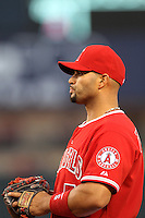 Albert Pujols #5 of the Los Angeles Angels before a game against the Oakland Athletics at Angel Stadium on April 19, 2012 in Anaheim,California. Oakland defeated Los Angeles 4-2.(Larry Goren/Four Seam Images)