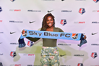 Los Angeles, CA - Thursday January 12, 2017: Kayla Mills during the 2017 NWSL College Draft at JW Marriott Hotel.