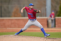 Pitcher Kyle Benson (30) of the Presbyterian College Blue Hose in a game against the University of South Carolina Upstate Spartans on Tuesday, March 23, 2021, at Cleveland S. Harley Park in Spartanburg, South Carolina. (Tom Priddy/Four Seam Images)