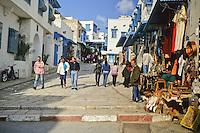Tunisia, Sidi Bou Said.  Main Street, leading to Mosque of Sidi Bou Said and the Cafe des Nattes.