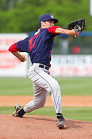 Relief pitcher Christopher Manno #17 of the Hagerstown Suns in action against the Rome Braves at State Mutual Stadium on May 1, 2011 in Rome, Georgia.   Photo by Brian Westerholt / Four Seam Images