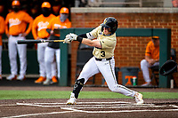 Vanderbilt Commodores left fielder Cooper Davis (3) at bat against the Tennessee Volunteers on Robert M. Lindsay Field at Lindsey Nelson Stadium on April 17, 2021, in Knoxville, Tennessee. (Danny Parker/Four Seam Images)